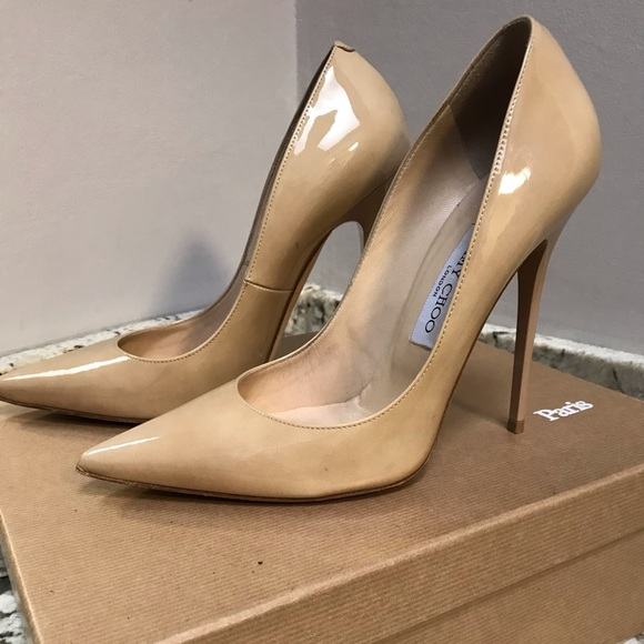bb0a94b360 Jimmy Choo Shoes - Jimmy Choo Anouk nude patent leather pumps